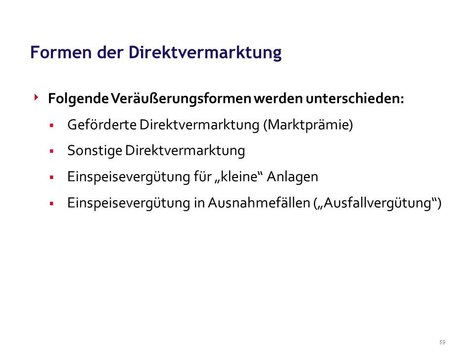 59 Formen der Direktvermarktung  Folgende Veräußerungsformen werden unterschieden:  Geförderte Direktvermarktung (Marktprämie)  Sonstige Direktverm