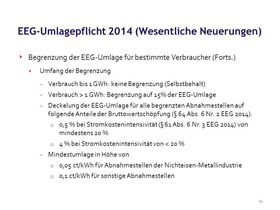69  Begrenzung der EEG-Umlage für bestimmte Verbraucher (Forts.)  Umfang der Begrenzung  Verbrauch bis 1 GWh: keine Begrenzung (Selbstbehalt)  Ver