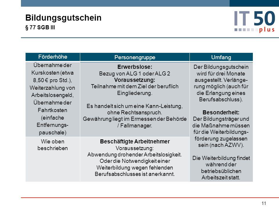 Bildungsgutschein § 77 SGB III Förderhöhe PersonengruppeUmfang Übernahme der Kurskosten (etwa 8,50 € pro Std.), Weiterzahlung von Arbeitslosengeld, Üb