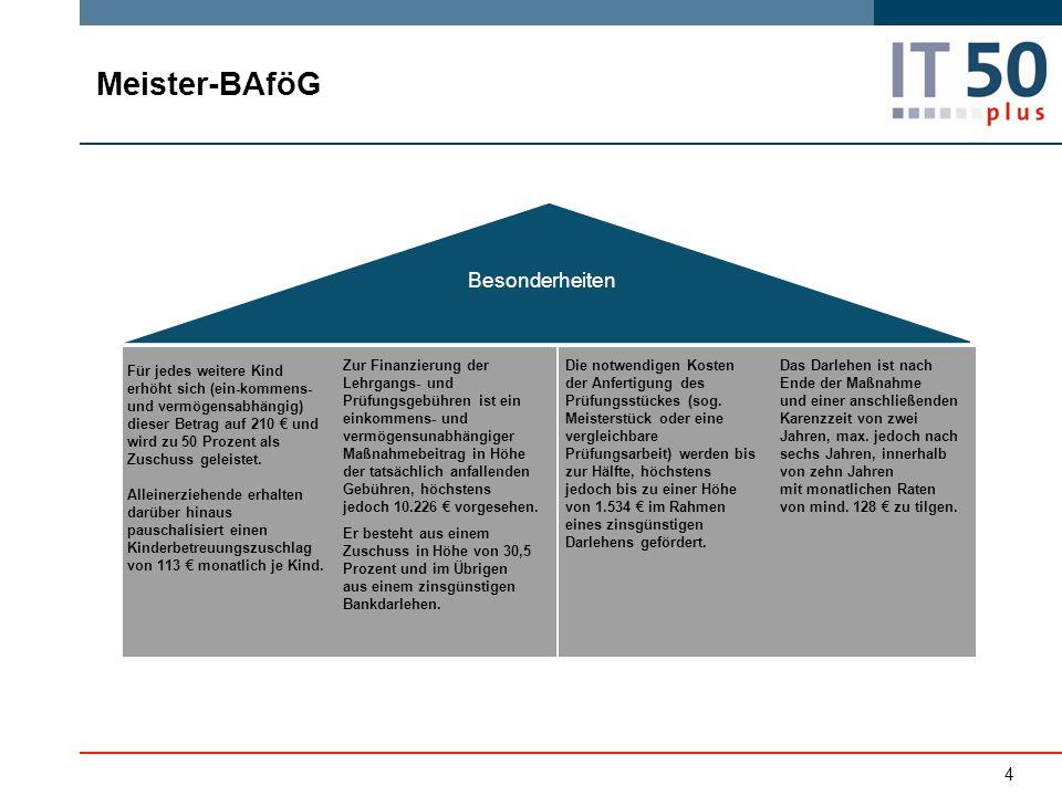 Meister-BAföG Besonderheiten Zur Finanzierung der Lehrgangs- und Prüfungsgebühren ist ein einkommens- und vermögensunabhängiger Maßnahmebeitrag in Höh