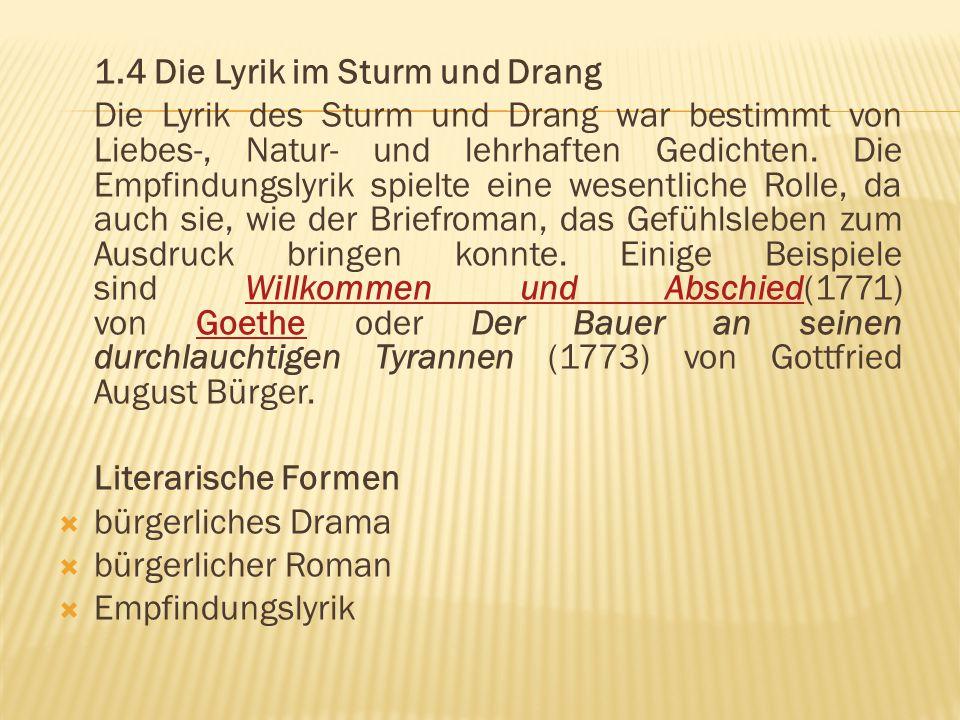 1.4 Die Lyrik im Sturm und Drang Die Lyrik des Sturm und Drang war bestimmt von Liebes-, Natur- und lehrhaften Gedichten. Die Empfindungslyrik spielte