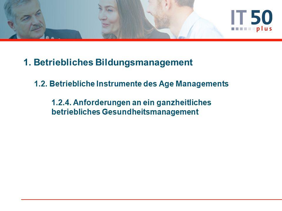 1.Betriebliches Bildungsmanagement 1.2. Betriebliche Instrumente des Age Managements 1.2.4.