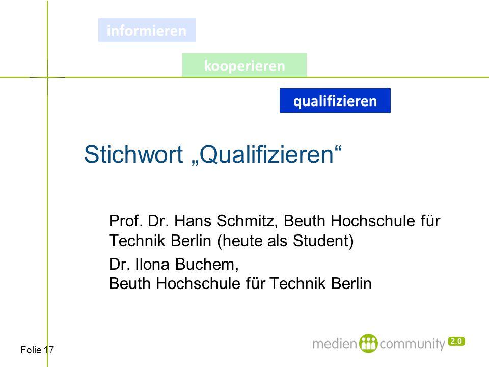 """Folie 17 Stichwort """"Qualifizieren Prof. Dr."""