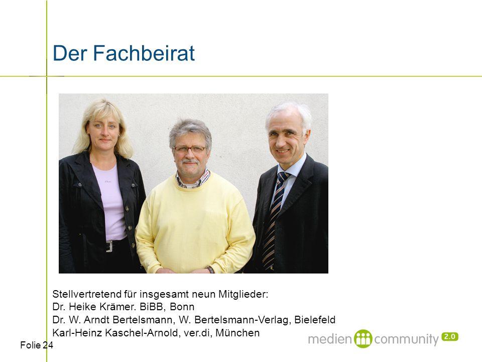 Folie 24 Der Fachbeirat Stellvertretend für insgesamt neun Mitglieder: Dr.