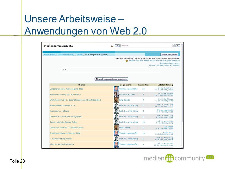 Folie 28 Unsere Arbeitsweise – Anwendungen von Web 2.0