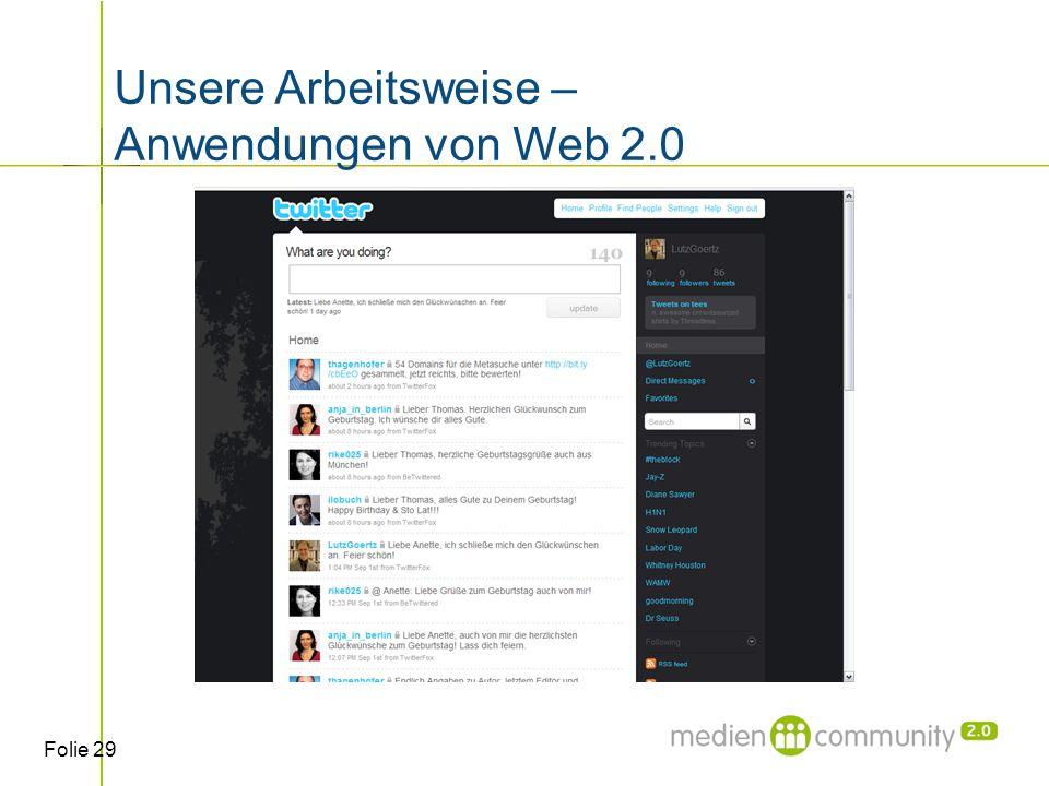 Folie 29 Unsere Arbeitsweise – Anwendungen von Web 2.0