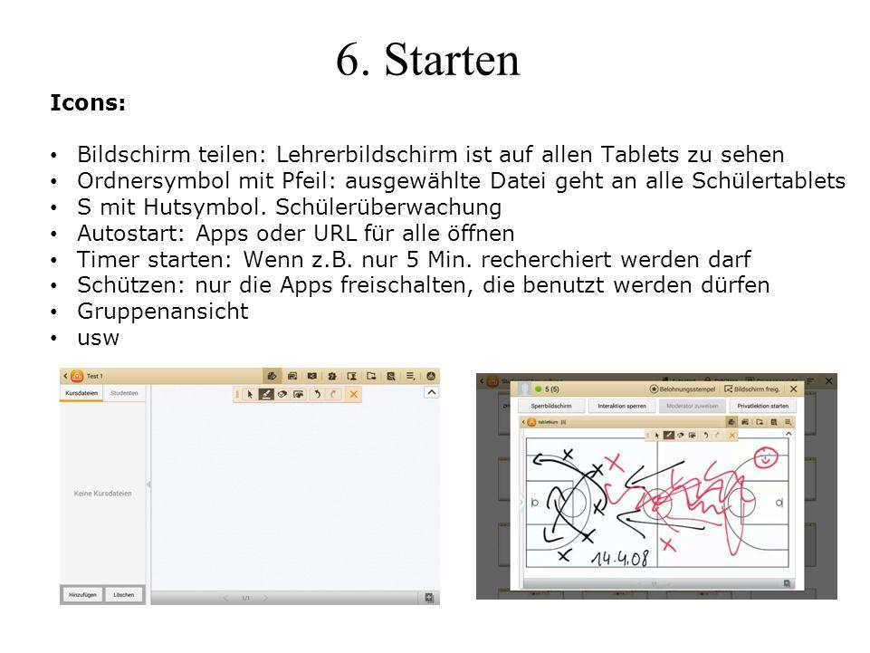 6. Starten Icons: Bildschirm teilen: Lehrerbildschirm ist auf allen Tablets zu sehen Ordnersymbol mit Pfeil: ausgewählte Datei geht an alle Schülertab