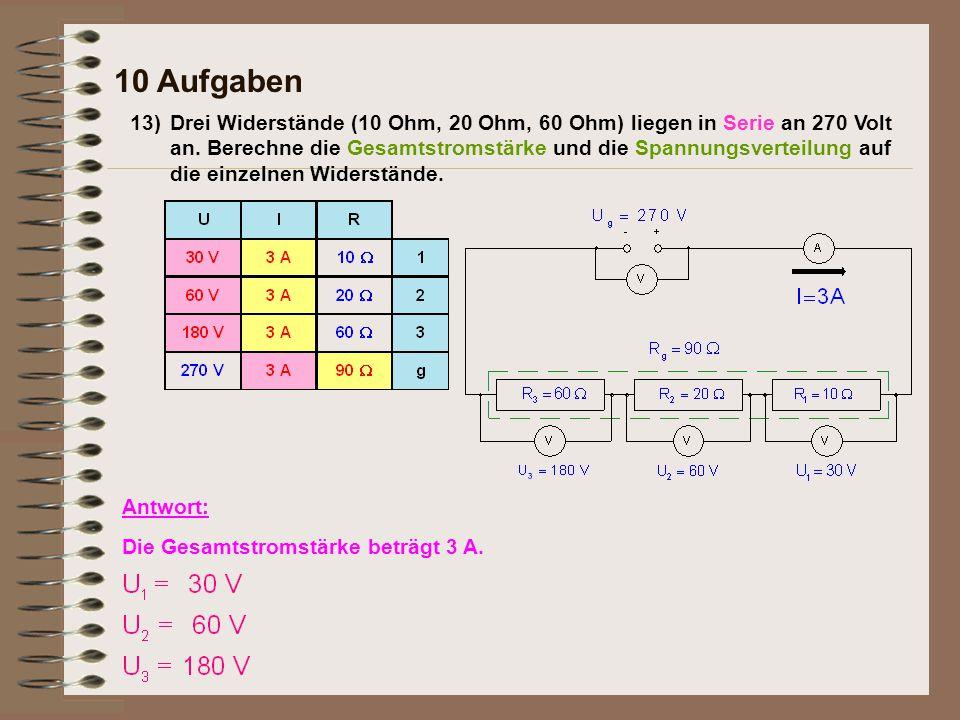 13) 10 Aufgaben Antwort: Die Gesamtstromstärke beträgt 3 A. Drei Widerstände (10 Ohm, 20 Ohm, 60 Ohm) liegen in Serie an 270 Volt an. Berechne die Ges