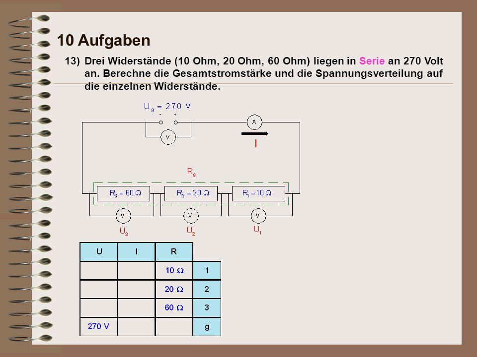 13)Drei Widerstände (10 Ohm, 20 Ohm, 60 Ohm) liegen in Serie an 270 Volt an. Berechne die Gesamtstromstärke und die Spannungsverteilung auf die einzel