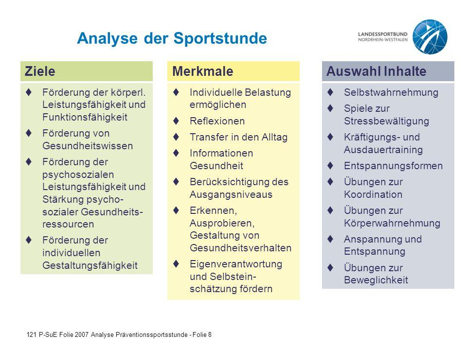 Analyse der Sportstunde 121 P-SuE Folie 2007 Analyse Präventionssportsstunde - Folie 8 Ziele  Förderung der körperl.