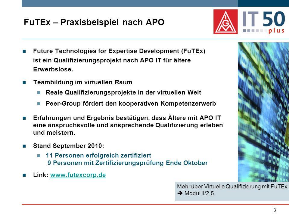 FuTEx – Praxisbeispiel nach APO Future Technologies for Expertise Development (FuTEx) ist ein Qualifizierungsprojekt nach APO IT für ältere Erwerbslose.