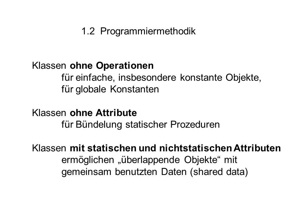 """1.2 Programmiermethodik Klassen ohne Operationen für einfache, insbesondere konstante Objekte, für globale Konstanten Klassen ohne Attribute für Bündelung statischer Prozeduren Klassen mit statischen und nichtstatischen Attributen ermöglichen """"überlappende Objekte mit gemeinsam benutzten Daten (shared data)"""