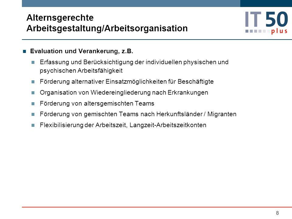 8 Evaluation und Verankerung, z.B. Erfassung und Berücksichtigung der individuellen physischen und psychischen Arbeitsfähigkeit Förderung alternativer