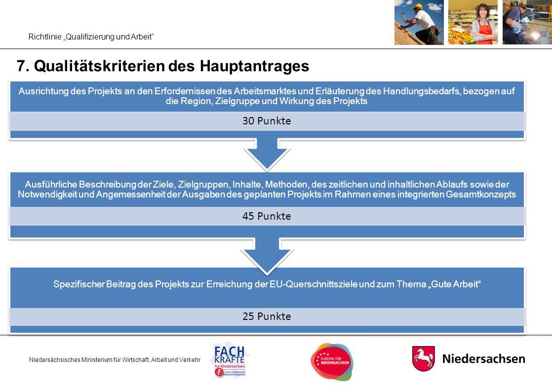 """Richtlinie """"Qualifizierung und Arbeit"""" 7. Qualitätskriterien des Hauptantrages Niedersächsisches Ministerium für Wirtschaft, Arbeit und Verkehr Spezif"""