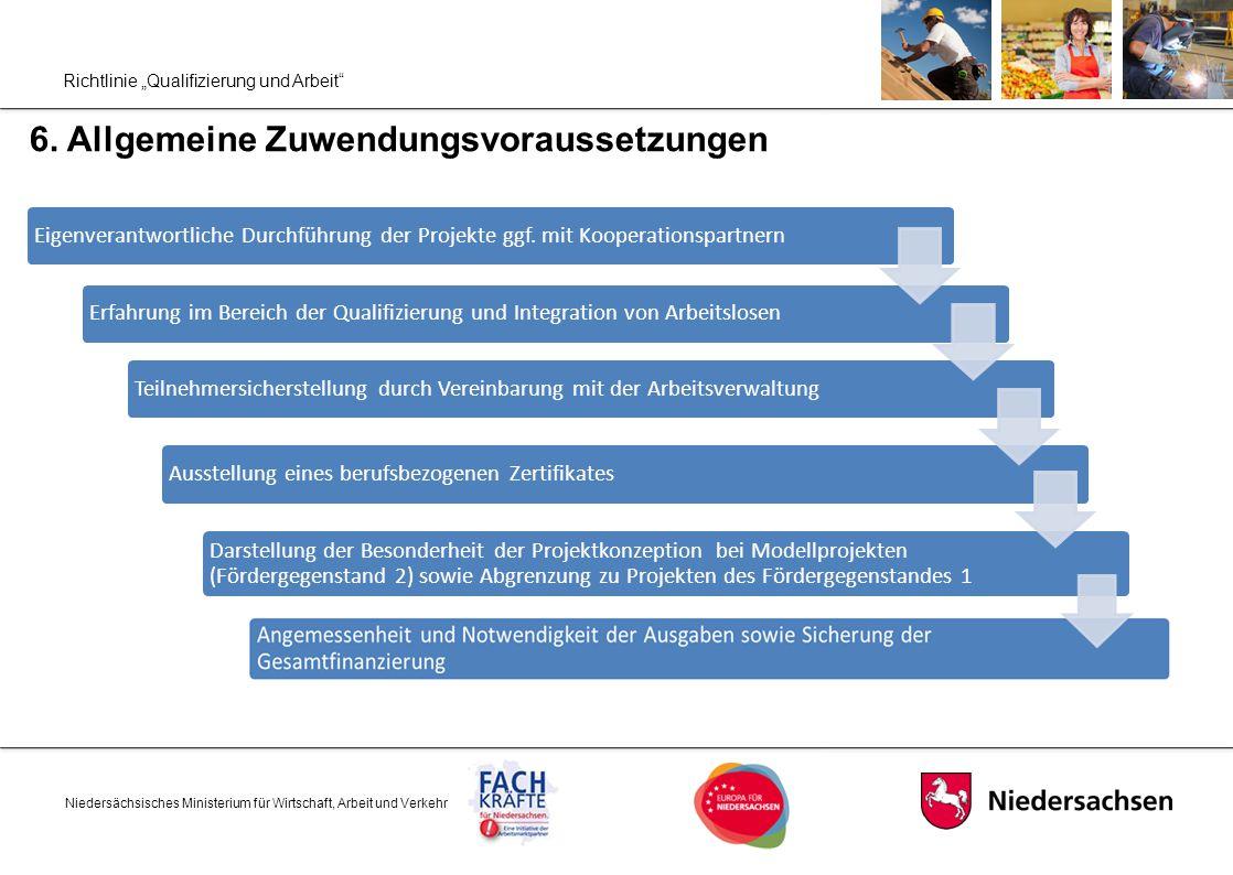 """Richtlinie """"Qualifizierung und Arbeit"""" 6. Allgemeine Zuwendungsvoraussetzungen Niedersächsisches Ministerium für Wirtschaft, Arbeit und Verkehr Eigenv"""