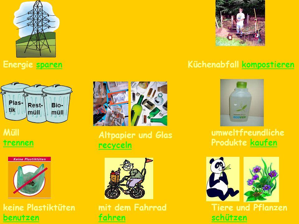 Energie sparenzu Fuß gehenKüchenabfall kompostieren Plas- tik Rest- müll Bio- müll Müll trennen Altpapier und Glas recyceln umweltfreundliche Produkte kaufen keine Plastiktüten benutzen mit dem Fahrrad fahren Tiere und Pflanzen schützen
