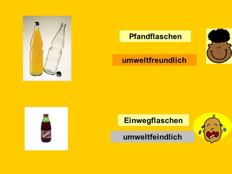 In Deutschland gibt es oft im Supermarkt Pfandflaschen.