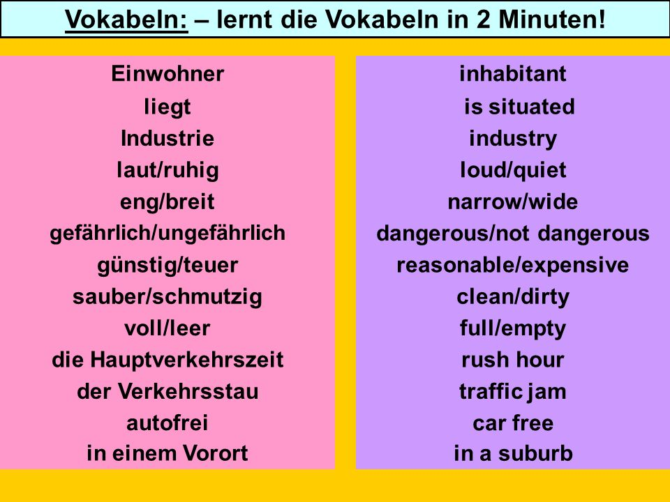 Eine Umfrage über deine Stadt/dein Dorf (a survey about your town/village) Click here for worksheet for pairwork