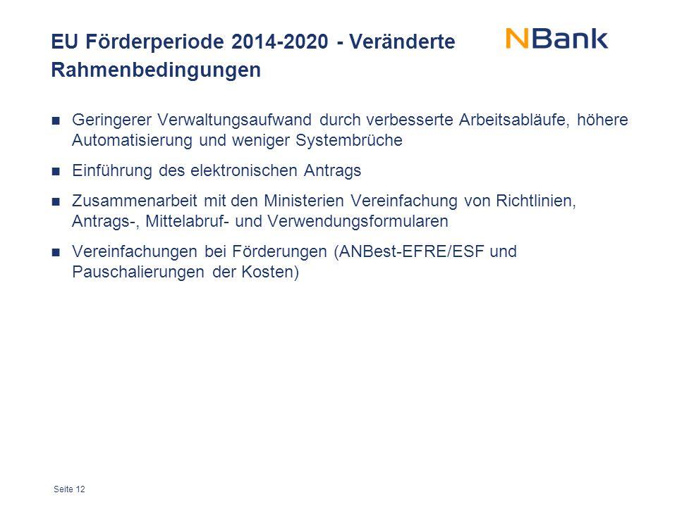 Seite 12 EU Förderperiode 2014-2020 - Veränderte Rahmenbedingungen Geringerer Verwaltungsaufwand durch verbesserte Arbeitsabläufe, höhere Automatisier