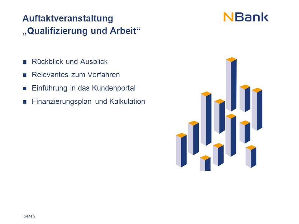 """Seite 13 Auftaktveranstaltung """"Qualifizierung und Arbeit Rückblick und Ausblick Relevantes zum Verfahren Einführung in das Kundenportal Finanzierungsplan und Kalkulation"""
