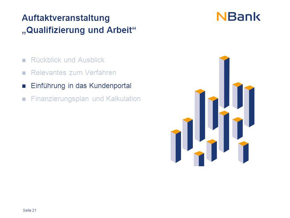 """Seite 21 Auftaktveranstaltung """"Qualifizierung und Arbeit"""" Rückblick und Ausblick Relevantes zum Verfahren Einführung in das Kundenportal Finanzierungs"""