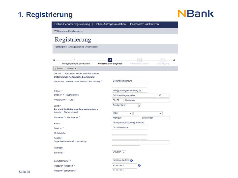 Seite 25 1. Registrierung