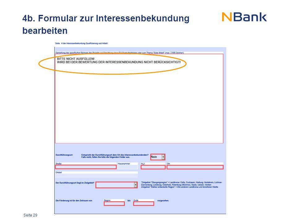 Seite 29 4b. Formular zur Interessenbekundung bearbeiten