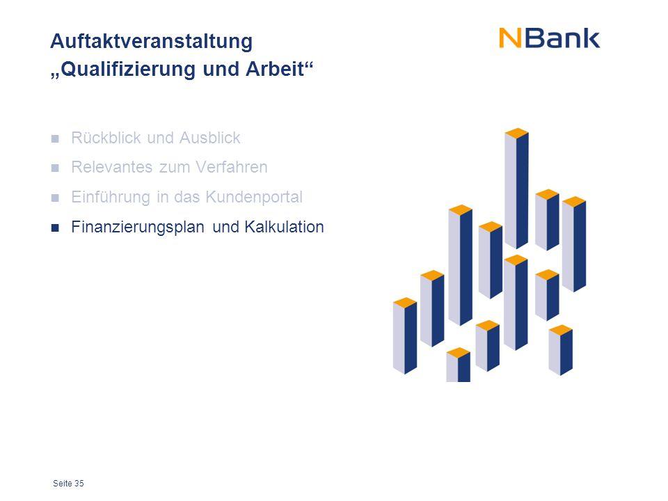 """Seite 35 Auftaktveranstaltung """"Qualifizierung und Arbeit"""" Rückblick und Ausblick Relevantes zum Verfahren Einführung in das Kundenportal Finanzierungs"""