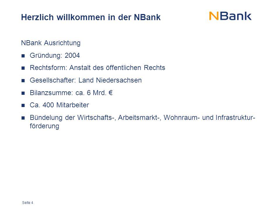 Seite 4 Herzlich willkommen in der NBank NBank Ausrichtung Gründung: 2004 Rechtsform: Anstalt des öffentlichen Rechts Gesellschafter: Land Niedersachs