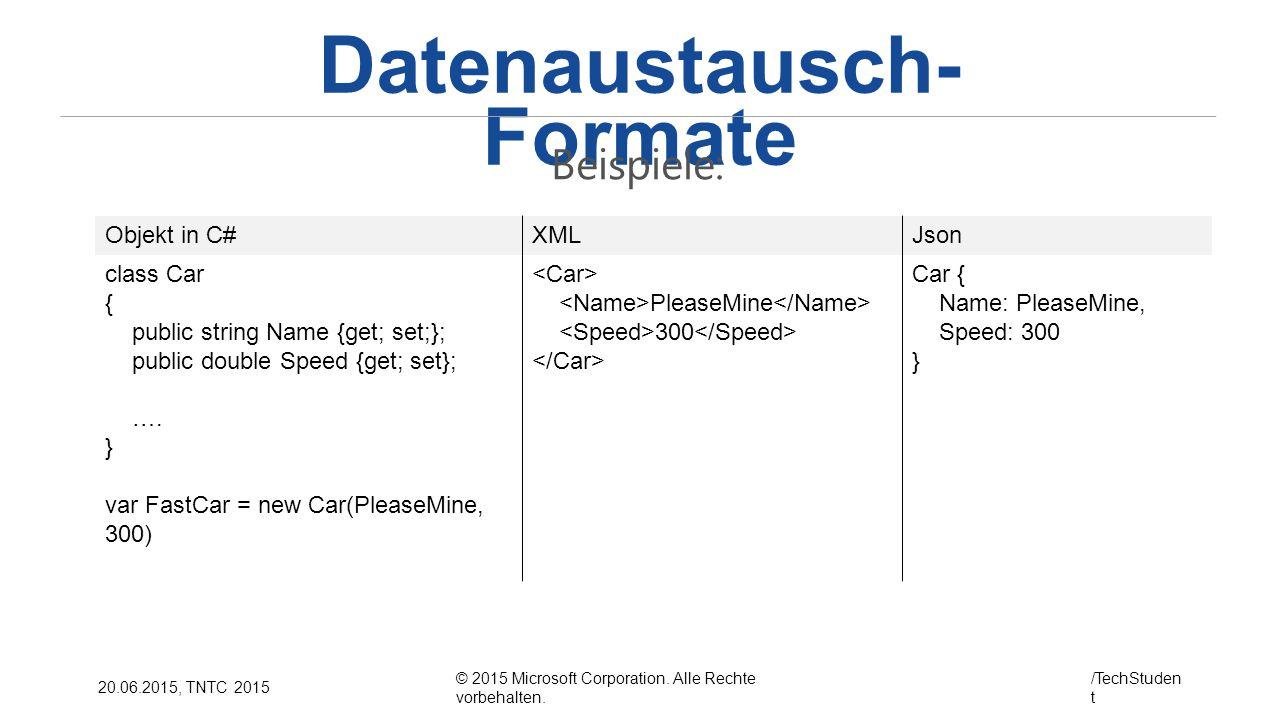 © 2015 Microsoft Corporation. Alle Rechte vorbehalten. /TechStuden t 20.06.2015, TNTC 2015 Datenaustausch- Formate Beispiele: Objekt in C#XMLJson clas