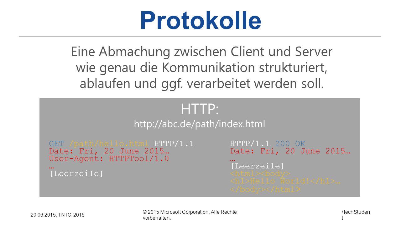 © 2015 Microsoft Corporation. Alle Rechte vorbehalten. /TechStuden t 20.06.2015, TNTC 2015 Protokolle HTTP: http://abc.de/path/index.html Eine Abmachu