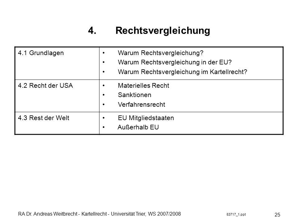 RA Dr. Andreas Weitbrecht - Kartellrecht - Universität Trier, WS 2007/2008 53717_1.ppt 4.Rechtsvergleichung 25 4.1 Grundlagen Warum Rechtsvergleichung