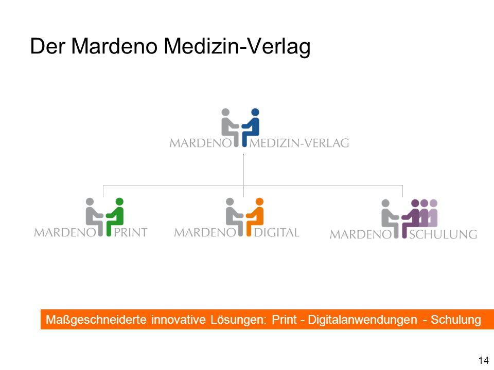 14 Der Mardeno Medizin-Verlag Maßgeschneiderte innovative Lösungen: Print - Digitalanwendungen - Schulung