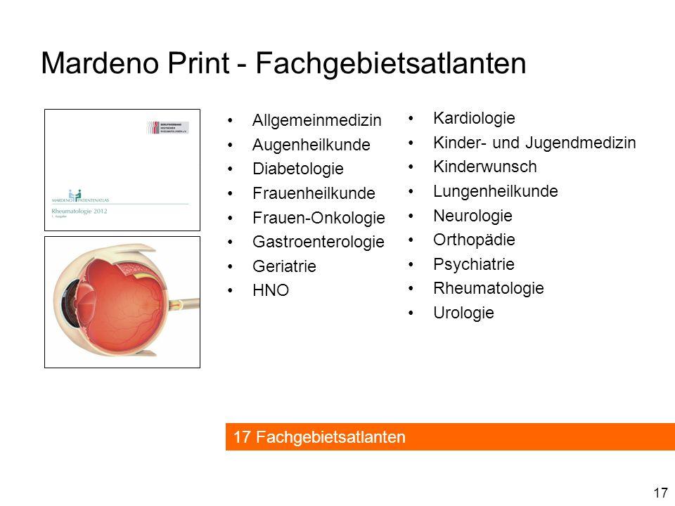 17 Mardeno Print - Fachgebietsatlanten Kardiologie Kinder- und Jugendmedizin Kinderwunsch Lungenheilkunde Neurologie Orthopädie Psychiatrie Rheumatolo