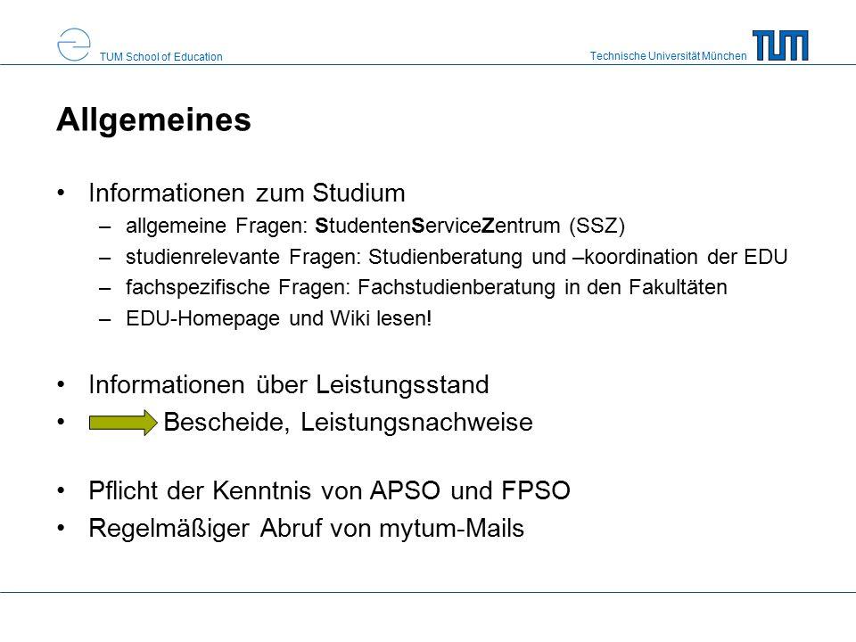Technische Universität München TUM School of Education Prüfungsordnungen rechtliche Grundlage für den Studiengang Prüfungsfristen und Studienfortschrittskontrolle Modulkatalog –Pflichtmodule –Wahlmodule können vom Prüfungsausschuss fortgeschrieben werden