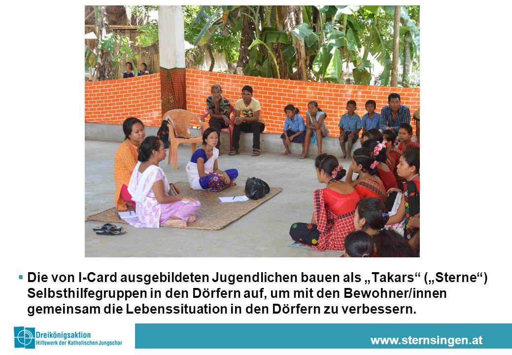 """www.sternsingen.at  Die von I-Card ausgebildeten Jugendlichen bauen als """"Takars"""" (""""Sterne"""") Selbsthilfegruppen in den Dörfern auf, um mit den Bewohne"""