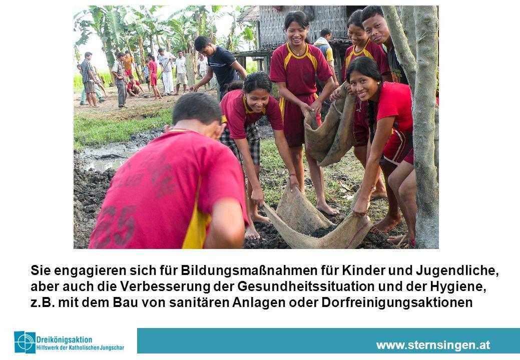 www.sternsingen.at Sie engagieren sich für Bildungsmaßnahmen für Kinder und Jugendliche, aber auch die Verbesserung der Gesundheitssituation und der H