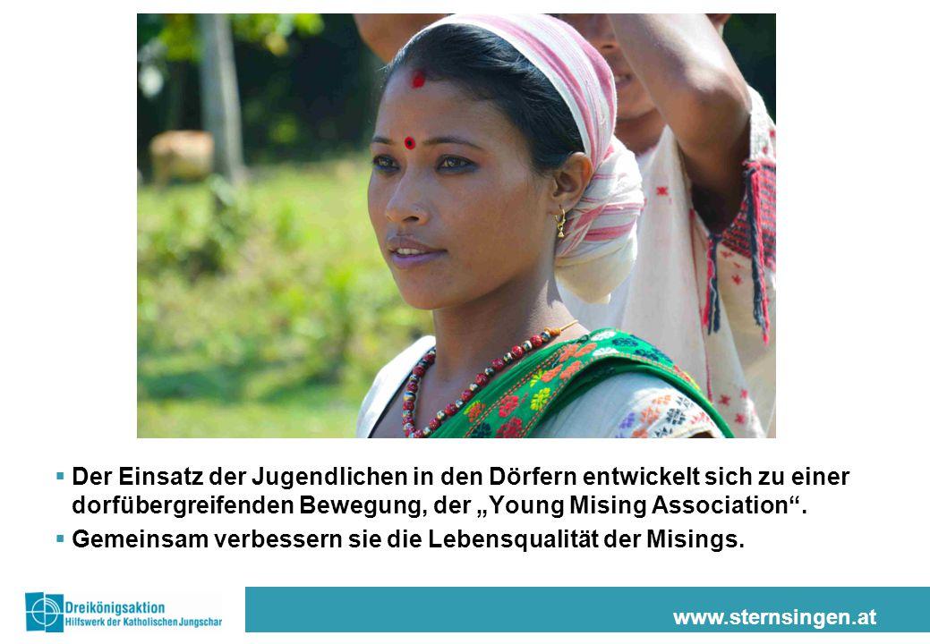 """www.sternsingen.at  Der Einsatz der Jugendlichen in den Dörfern entwickelt sich zu einer dorfübergreifenden Bewegung, der """"Young Mising Association""""."""