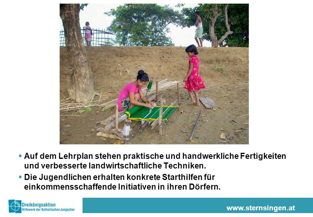 www.sternsingen.at  Auf dem Lehrplan stehen praktische und handwerkliche Fertigkeiten und verbesserte landwirtschaftliche Techniken.  Die Jugendlich