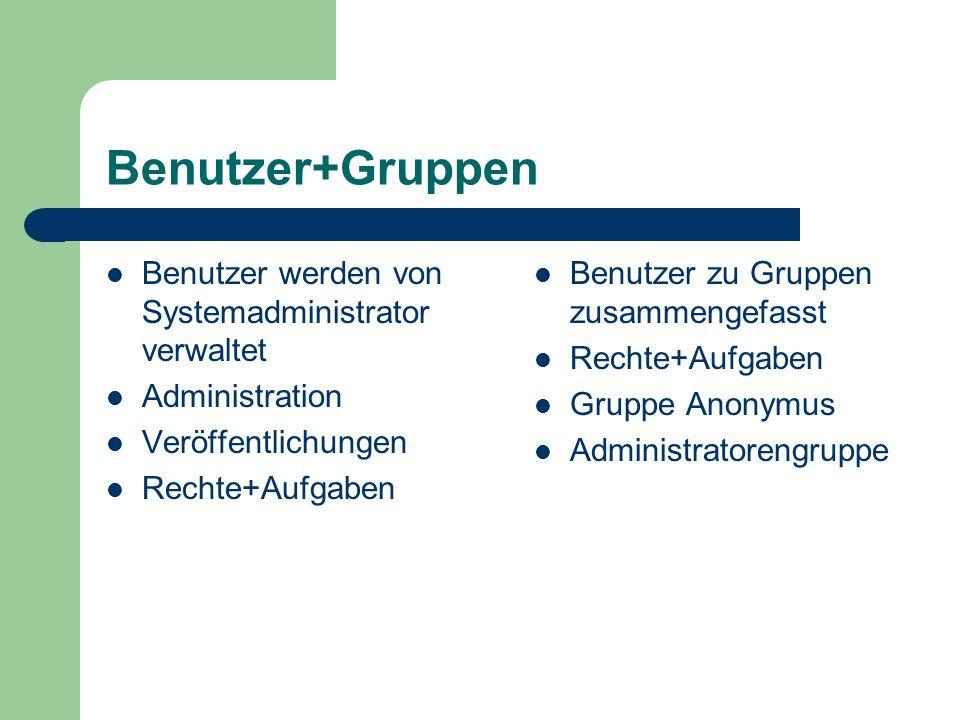 Benutzer+Gruppen Benutzer werden von Systemadministrator verwaltet Administration Veröffentlichungen Rechte+Aufgaben Benutzer zu Gruppen zusammengefas