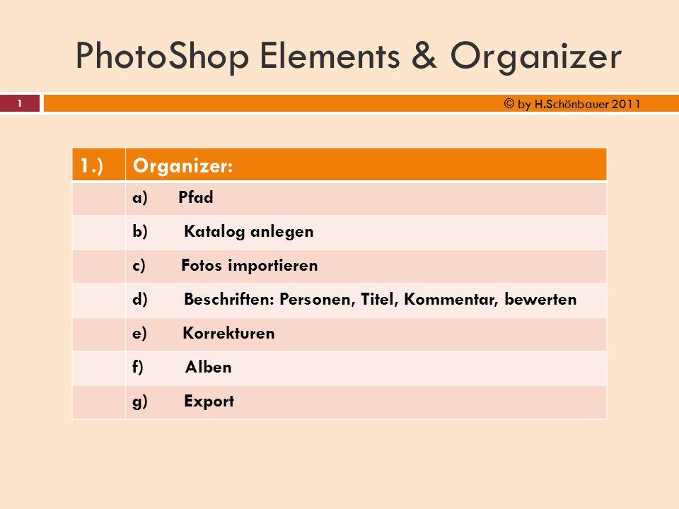 PhotoShop Elements & Organizer 1.)Organizer: a) Pfad b) Katalog anlegen c) Fotos importieren d) Beschriften: Personen, Titel, Kommentar, bewerten e) K