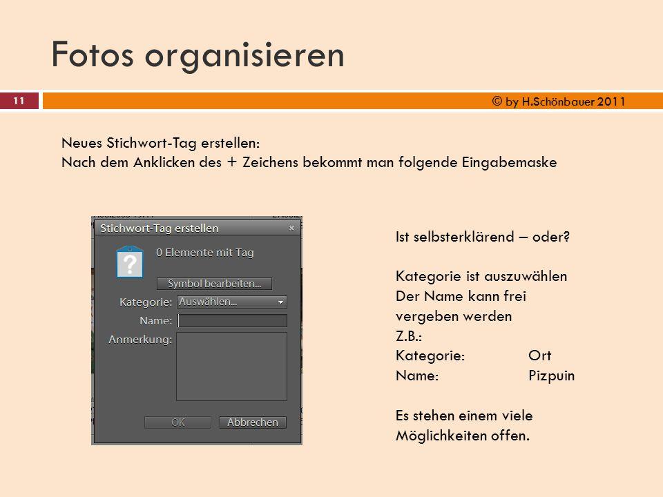 Fotos organisieren 11 © by H.Schönbauer 2011 Neues Stichwort-Tag erstellen: Nach dem Anklicken des + Zeichens bekommt man folgende Eingabemaske Ist se