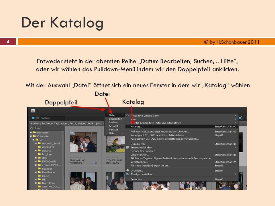 """Der Katalog 4 © by H.Schönbauer 2011 Entweder steht in der obersten Reihe """"Datum Bearbeiten, Suchen,.. Hilfe"""", oder wir wählen das Pulldown-Menü indem"""