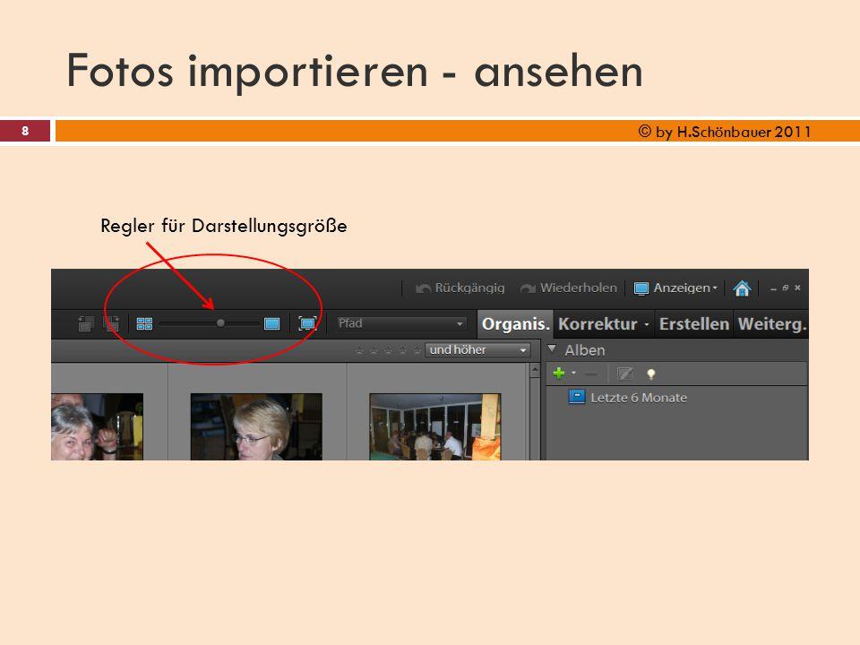 Fotos importieren - ansehen 8 © by H.Schönbauer 2011 Regler für Darstellungsgröße