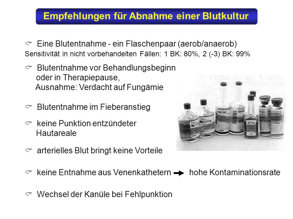 Empfehlungen für Abnahme einer Blutkultur  Eine Blutentnahme - ein Flaschenpaar (aerob/anaerob) Sensitivität in nicht vorbehandelten Fällen: 1 BK: 80