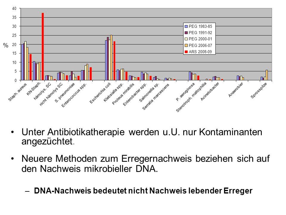 negative Blutkultur ? Der Nachweis einer Bakteriämie oder Fungämie mit Hilfe der Blutkultur ist in weniger als 25 – 30 % der Fälle mit klinischer Seps