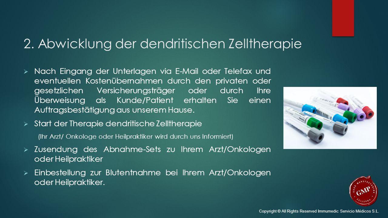 2. Abwicklung der dendritischen Zelltherapie  Nach Eingang der Unterlagen via E-Mail oder Telefax und eventuellen Kostenübernahmen durch den privaten