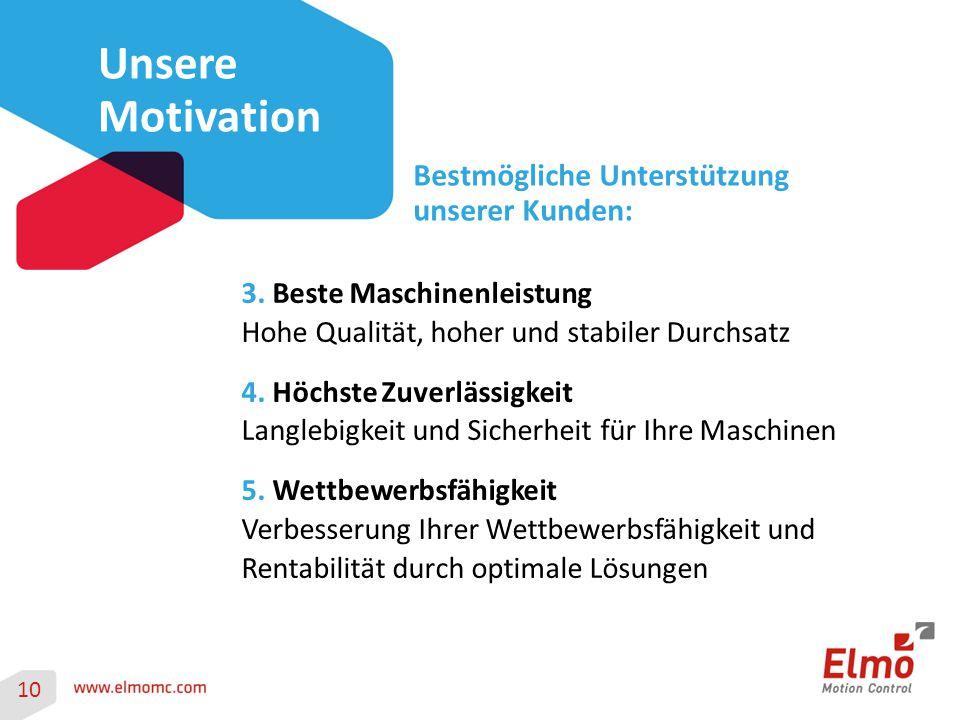 10 Unsere Motivation Bestmögliche Unterstützung unserer Kunden: 3. Beste Maschinenleistung Hohe Qualität, hoher und stabiler Durchsatz 4. Höchste Zuve