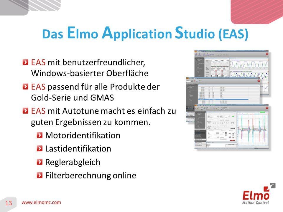 13 Das E lmo A pplication S tudio (EAS) EAS mit benutzerfreundlicher, Windows-basierter Oberfläche EAS passend für alle Produkte der Gold-Serie und GM