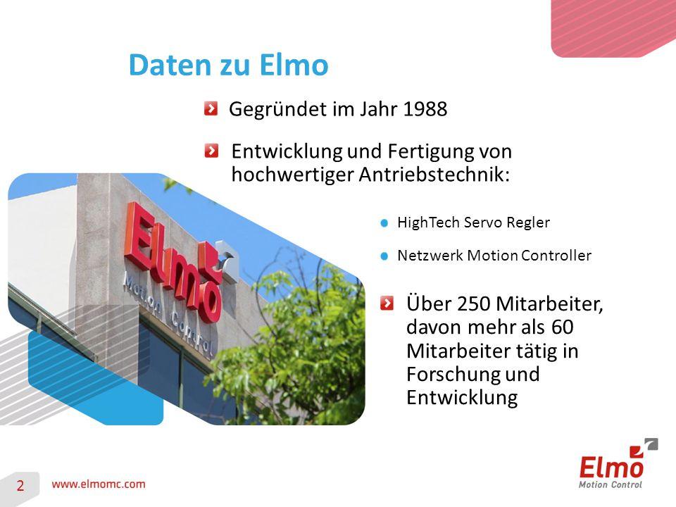 Daten zu Elmo Gegründet im Jahr 1988 Entwicklung und Fertigung von hochwertiger Antriebstechnik: Über 250 Mitarbeiter, davon mehr als 60 Mitarbeiter t